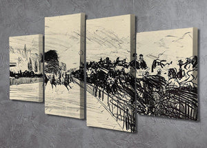 Horse racing by Manet 4 Split Panel Canvas - Canvas Art Rocks - 2