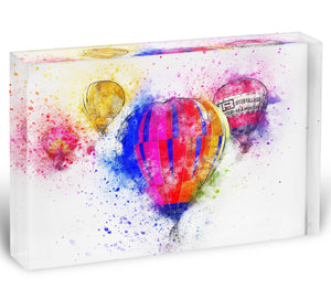 Hot Air Ballon Splash Version 2 Acrylic Block - Canvas Art Rocks - 1