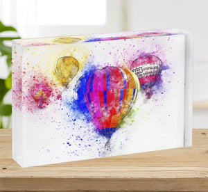 Hot Air Ballon Splash Version 2 Acrylic Block - Canvas Art Rocks - 2