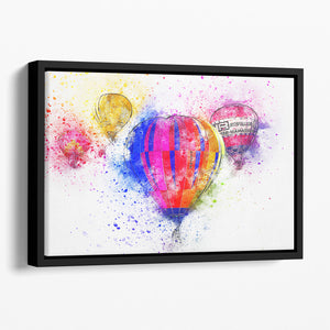 Hot Air Ballon Splash Version 2 Floating Framed Canvas