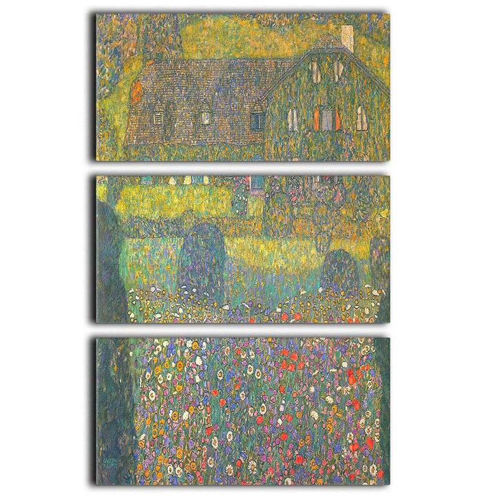 House in Attersee by Klimt 3 Split Panel Canvas Print