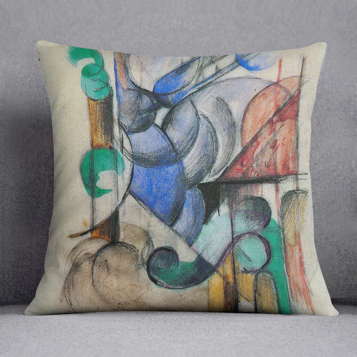 House in abstract landscape by Franz Marc Cushion
