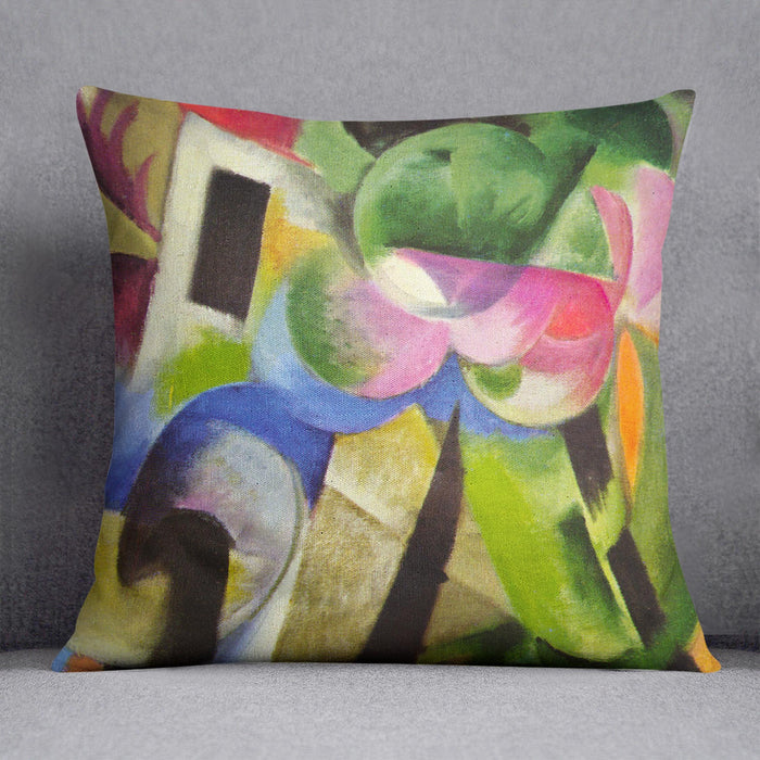 House with trees by Franz Marc Cushion