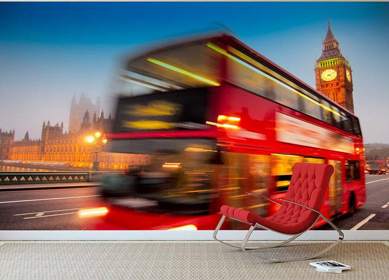 Houses Of Parliament red double-decker bus Wall Mural Wallpaper - Canvas Art Rocks - 1