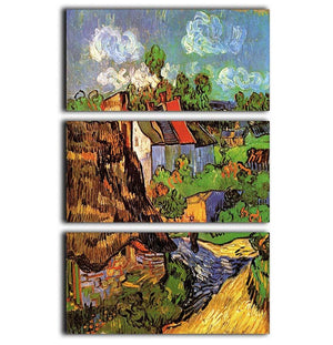 Houses in Auvers by Van Gogh 3 Split Panel Canvas Print - Canvas Art Rocks - 1