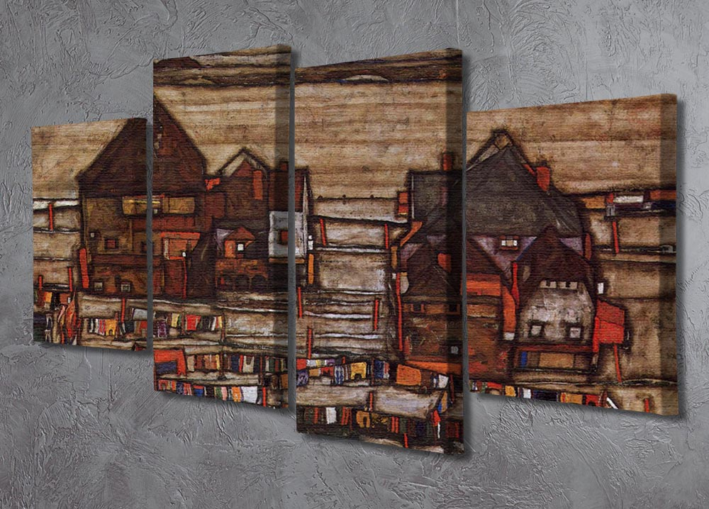 Houses with laundry lines and suburban by Egon Schiele 4 Split Panel Canvas