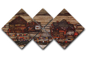 Houses with laundry lines and suburban by Egon Schiele 4 Square Multi Panel Canvas - Canvas Art Rocks - 1