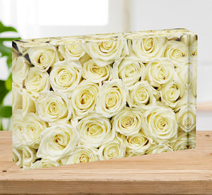 Huge bouquet of white roses Acrylic Block - Canvas Art Rocks - 2