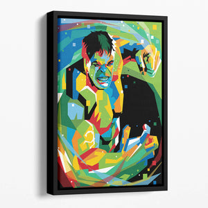 Hulk Pop Art Floating Framed Canvas