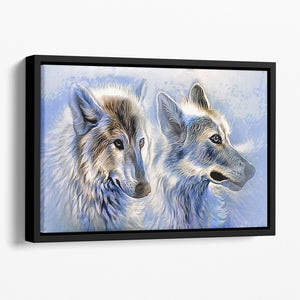 Ice Wolf Painting Floating Framed Canvas