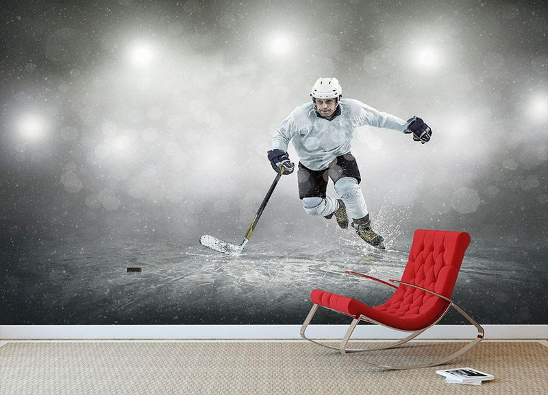 Ice hockey player outdoors Wall Mural Wallpaper - Canvas Art Rocks - 1
