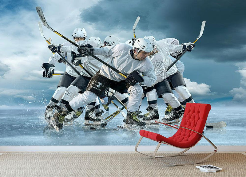 Ice hockey players in action Wall Mural Wallpaper - Canvas Art Rocks - 1