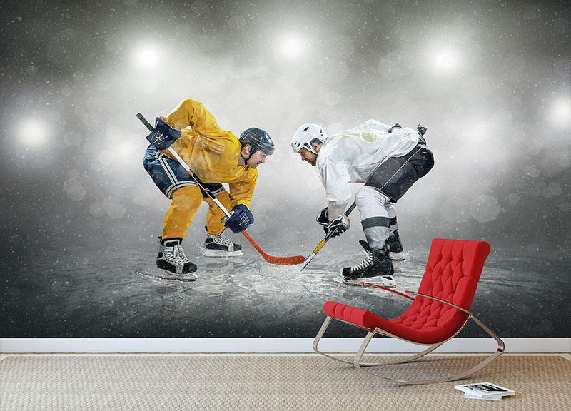 Ice hockey players on the ice Wall Mural Wallpaper - Canvas Art Rocks - 1