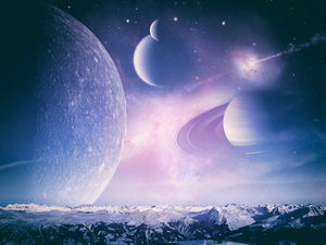 Ice world and planets Wall Mural Wallpaper - Canvas Art Rocks - 1