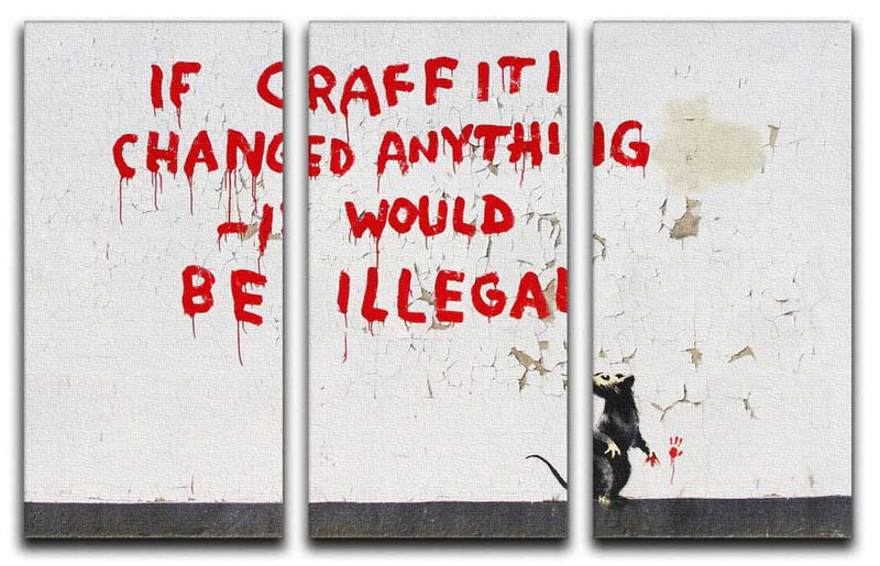 Banksy If Graffiti Changed Anything Split-Panel Canvas Print - Canvas Art Rocks