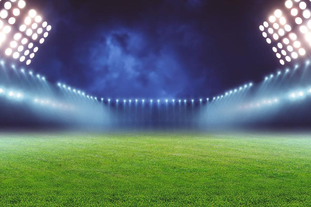 Illuminated football ground Wall Mural Wallpaper  Canvas Art Rocks