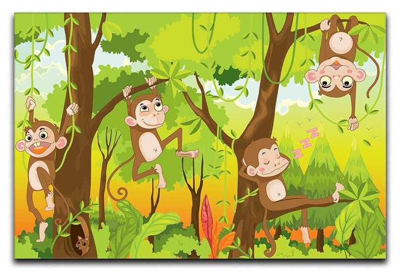 Illustration of a monkey in a jungle Canvas Print or Poster  - Canvas Art Rocks - 1
