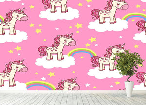 Illustration of horses in the clouds Wall Mural Wallpaper - Canvas Art Rocks - 4