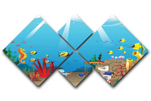 Illustration of marine life design 4 Square Multi Panel Canvas  - Canvas Art Rocks - 1