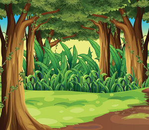 Illustration of the giant trees in the forest Wall Mural Wallpaper - Canvas Art Rocks - 1