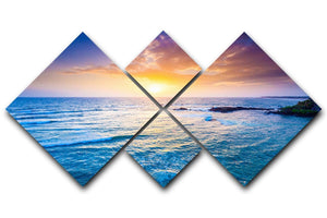 Indian ocean on sunset 4 Square Multi Panel Canvas  - Canvas Art Rocks - 1