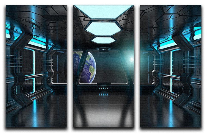 Inside a Spaceship 3 Split Panel Canvas Print