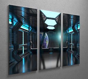 Inside a Spaceship 3 Split Panel Canvas Print - Canvas Art Rocks - 2