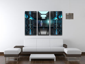 Inside a Spaceship 3 Split Panel Canvas Print - Canvas Art Rocks - 3
