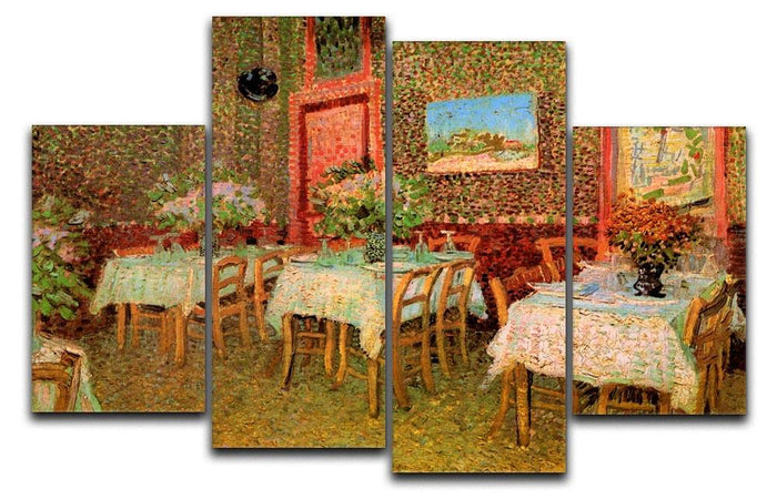 Interior of a restaurant by Van Gogh 4 Split Panel Canvas