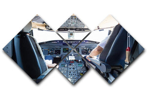 Interior of airplane cockpit 4 Square Multi Panel Canvas  - Canvas Art Rocks - 1