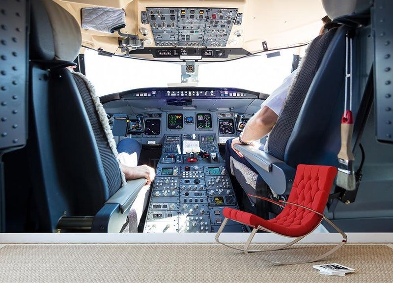 Interior of airplane cockpit Wall Mural Wallpaper - Canvas Art Rocks - 1