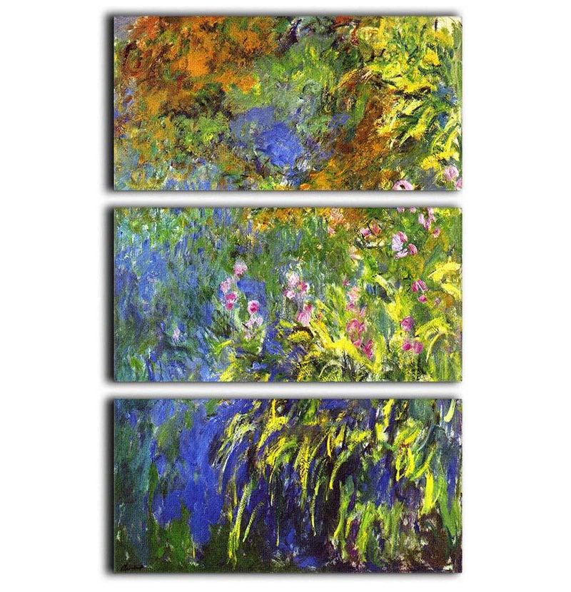 Iris at the sea rose pond 2 by Monet 3 Split Panel Canvas Print - Canvas Art Rocks - 1