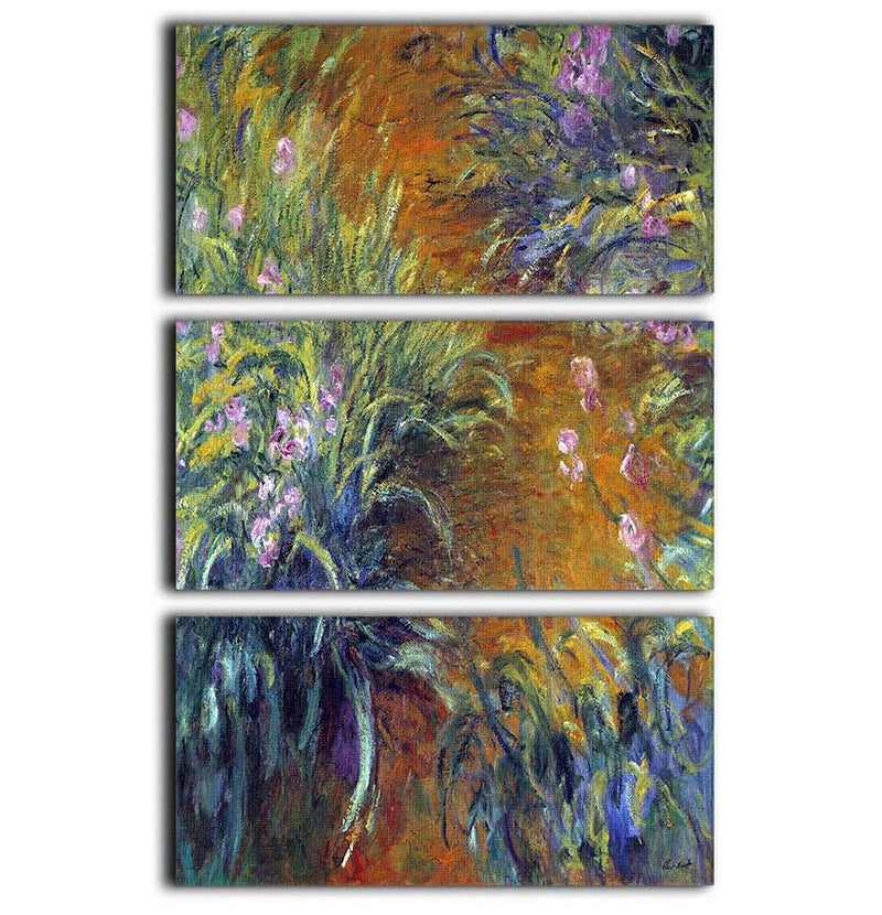 Irises by Monet 3 Split Panel Canvas Print - Canvas Art Rocks - 1