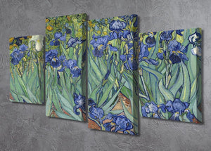 Irises by Van Gogh 4 Split Panel Canvas - Canvas Art Rocks - 2