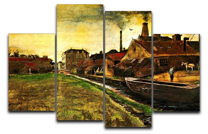 Iron Mill in The Hague by Van Gogh 4 Split Panel Canvas