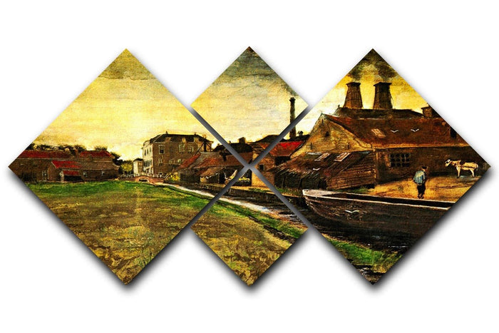 Iron Mill in The Hague by Van Gogh 4 Square Multi Panel Canvas