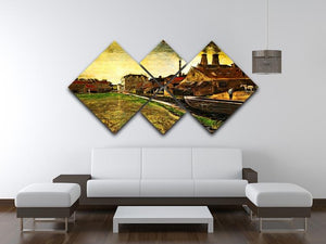 Iron Mill in The Hague by Van Gogh 4 Square Multi Panel Canvas - Canvas Art Rocks - 3