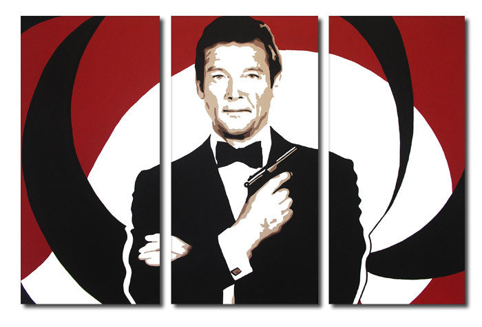 James Bond Roger Moore 3 Split Panel Canvas Print - Canvas Art Rocks