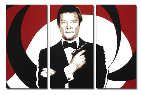 James Bond Roger Moore 3 Split Panel Canvas Print