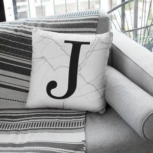White Marble Monogram Cushion - Linen