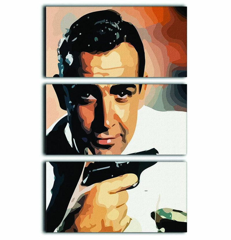James Bond Sean Connery And Gun 3 Split Panel Canvas Print - Canvas Art Rocks - 1