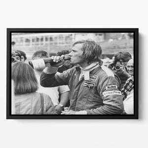 James Hunt swigging champagne Floating Framed Canvas
