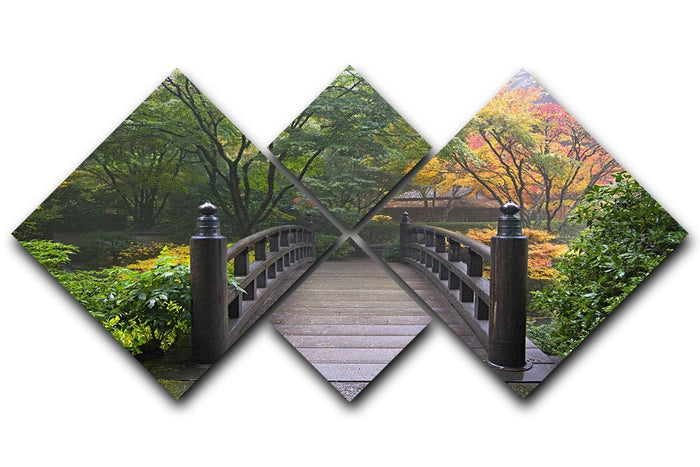 Japanese Garden Oregon in Autumn 4 Square Multi Panel Canvas
