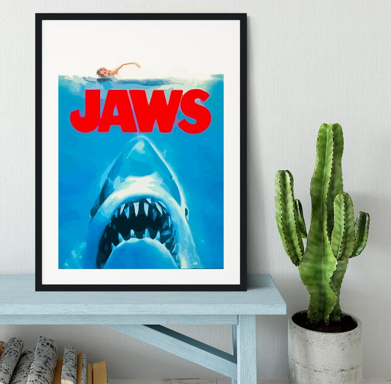 Jaws Portrait Framed Print - Canvas Art Rocks - 1