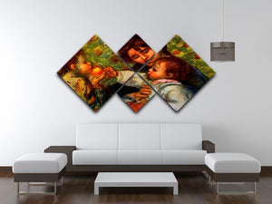 Jean Renoir and Gabrielle by Renoir 4 Square Multi Panel Canvas - Canvas Art Rocks - 3