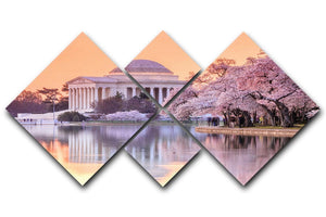 Jefferson Memorial during the Cherry Blossom Festival 4 Square Multi Panel Canvas  - Canvas Art Rocks - 1