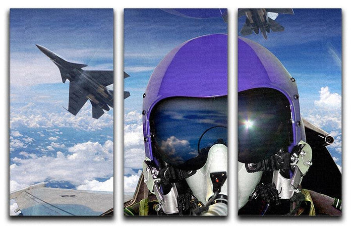 Jet fighter pilot cockpit view 3 Split Panel Canvas Print