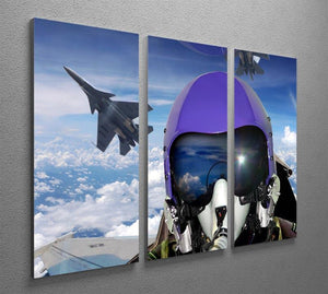 Jet fighter pilot cockpit view 3 Split Panel Canvas Print - Canvas Art Rocks - 2