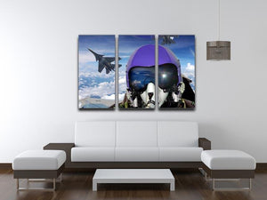 Jet fighter pilot cockpit view 3 Split Panel Canvas Print - Canvas Art Rocks - 3