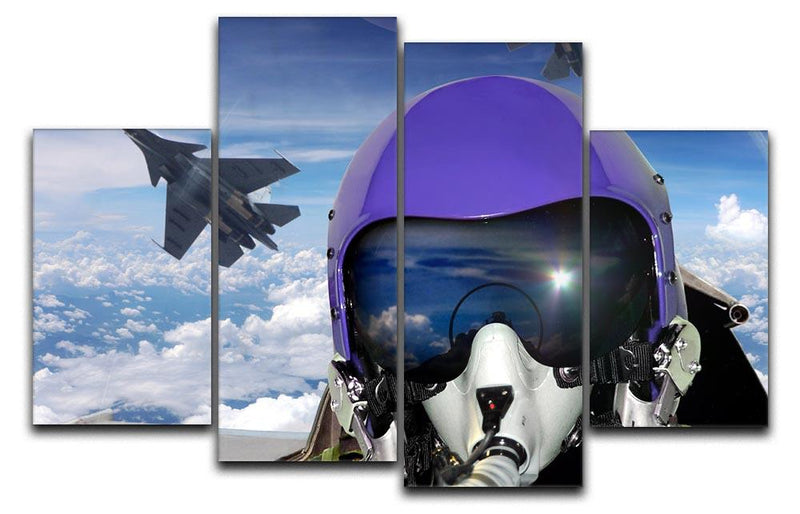 Jet fighter pilot cockpit view 4 Split Panel Canvas  - Canvas Art Rocks - 1